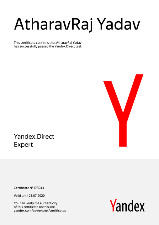 Yandex Recognized as Yandex.Direct Expert