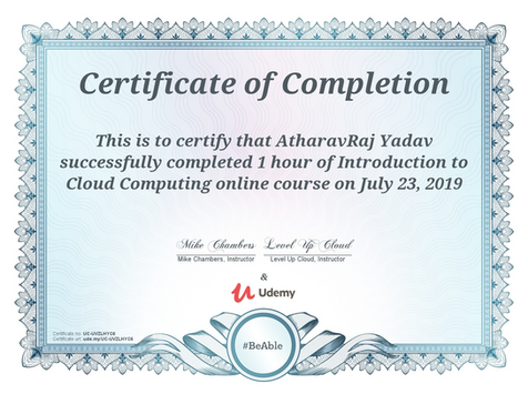 Certification on Introduction to Cloud Computing