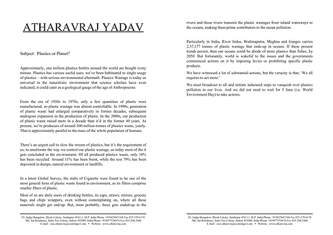 Plastics or Planet | Article on Plastic Pollution | AtharavRaj Yadav