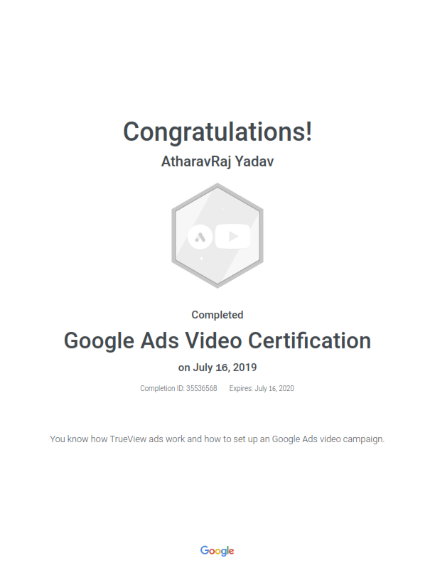 Google Ads Video Certification by Google