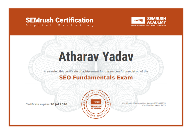 SEMrush Recognized as SEO Fundamentals Professional