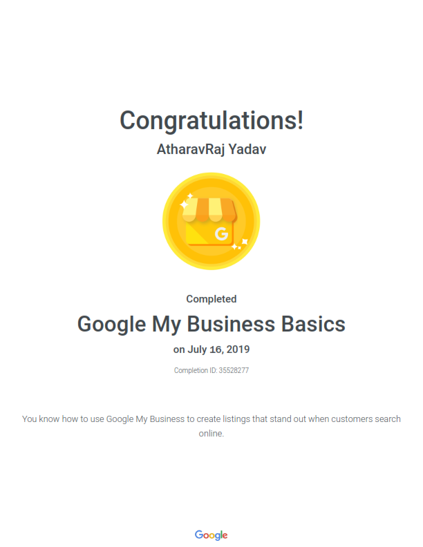 Certification on the Basics of Google My Business