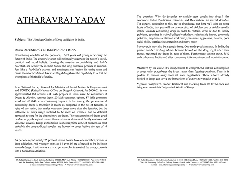 Article on Drug Addiction | AtharavRaj Yadav