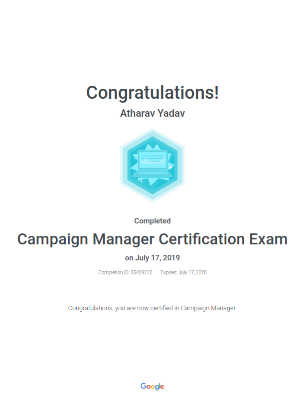 Google Recognized as Campaign Manager in Certification Exam