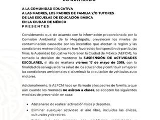 Suspensión de clases viernes 17 de mayo