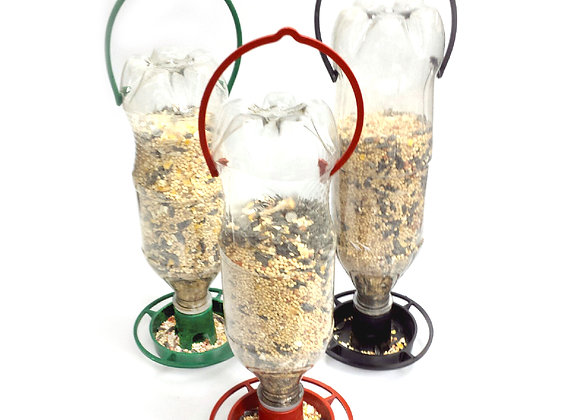 Gadjit 3 Hanging Soda Bottle Bird Feeders, 3 Colors (poly bagged)