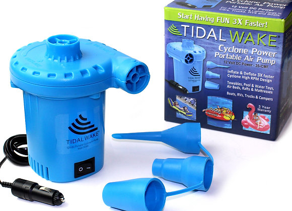 Tidal Wake 12V DC Air Pump for Inflatables, Inflates & Deflates 3 Times Faster