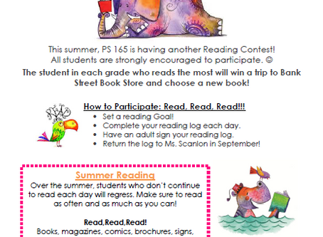 PS165's Annual Summer Reading Contest IS HERE!!!