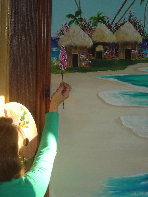Peinture murale, plages et palmiers