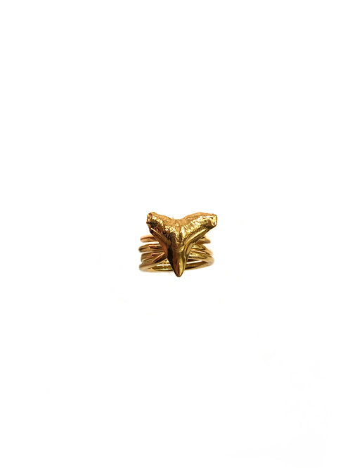 Multi Wrap Tooth Ring Gold Plate