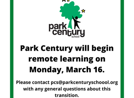 Park Century Transitioning to Remote Learning Starting Monday, March 16