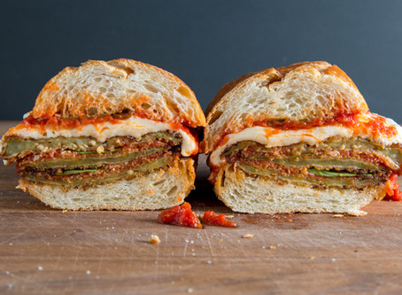 a perfect EGGPLANT PARMESAN sandwich