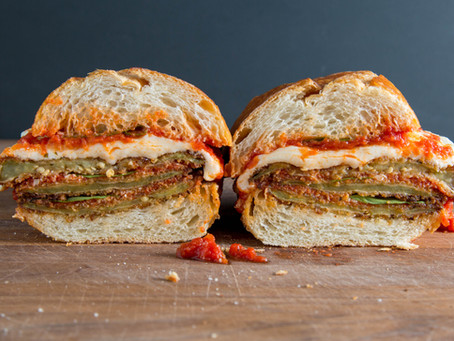 a perfect EGGPLANT PARMESAN sandwich