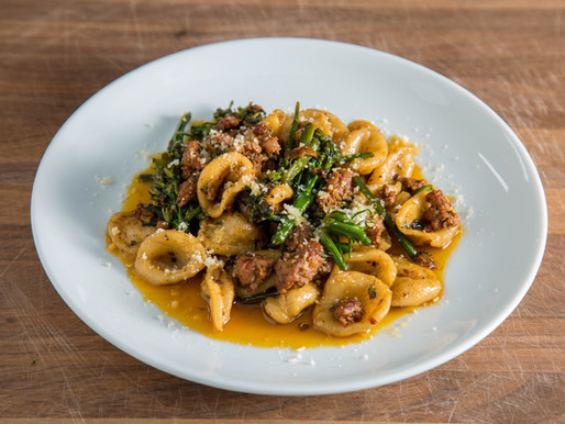 INSANELY DELICIOUS fresh ORECCHIETTE with Italian SAUSAGE and BROCCOLINI