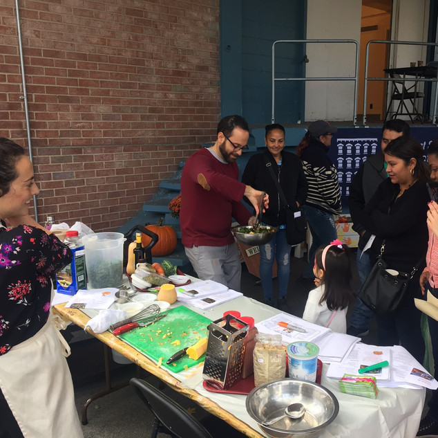 The DI Intern team conducting a Community Cooking Demo for East Side Settlement Early Child Hood Program in Bronx, NY.
