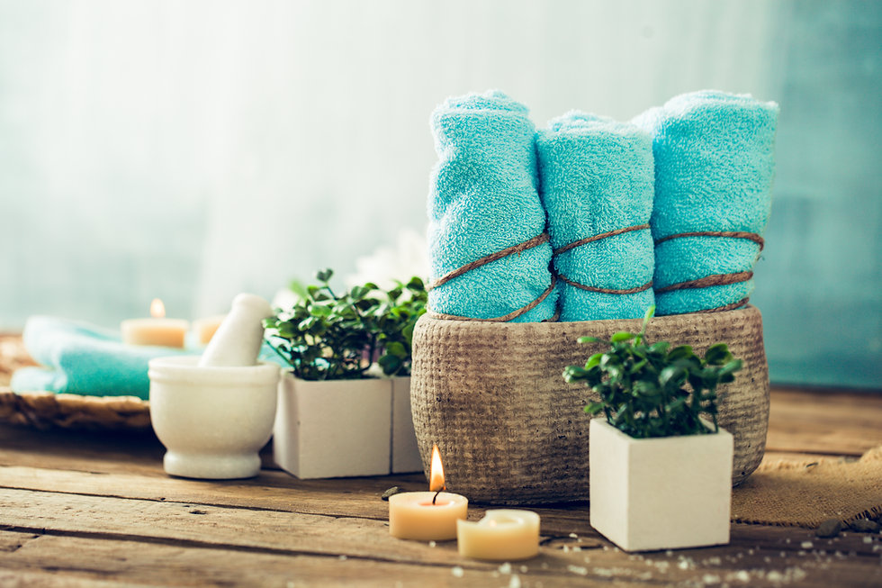 Spa and wellness setting with flowers an