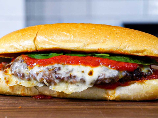 Cheeseburger Parmigiano on toasted Garlic Roll