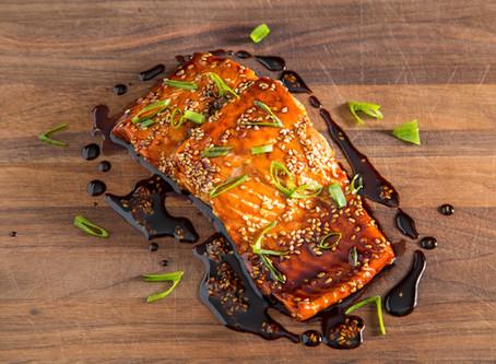 roasted TERIYAKI SALMON with HOMEMADE TERIYAKI SAUCE