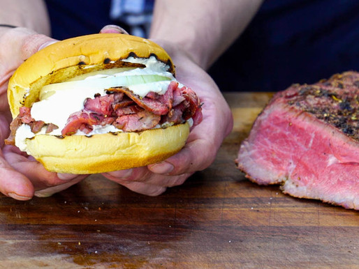 smoked BEEF TRI TIP meets PIT BEEF SANDWICH