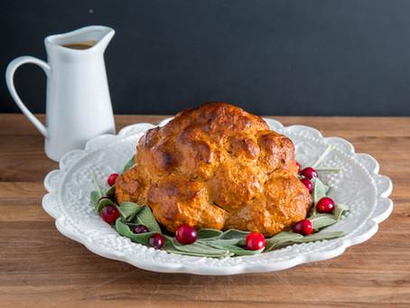 "the CAULIFLOWER ""TURKEY""...a vegetarian's THANKSGIVING dream come true"