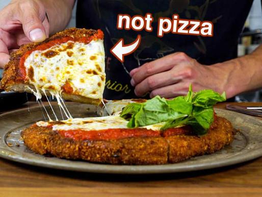 CHICKEN PARM PIZZA featuring HUGE chicken cutlet