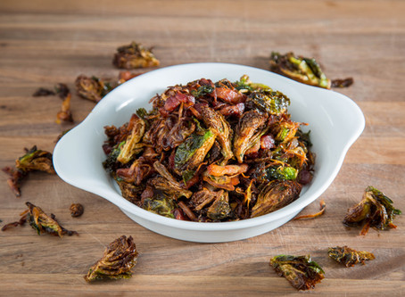 the BEST FRIED BRUSSELS SPROUTS tossed in BACON BUTTER AND SHALLOTS