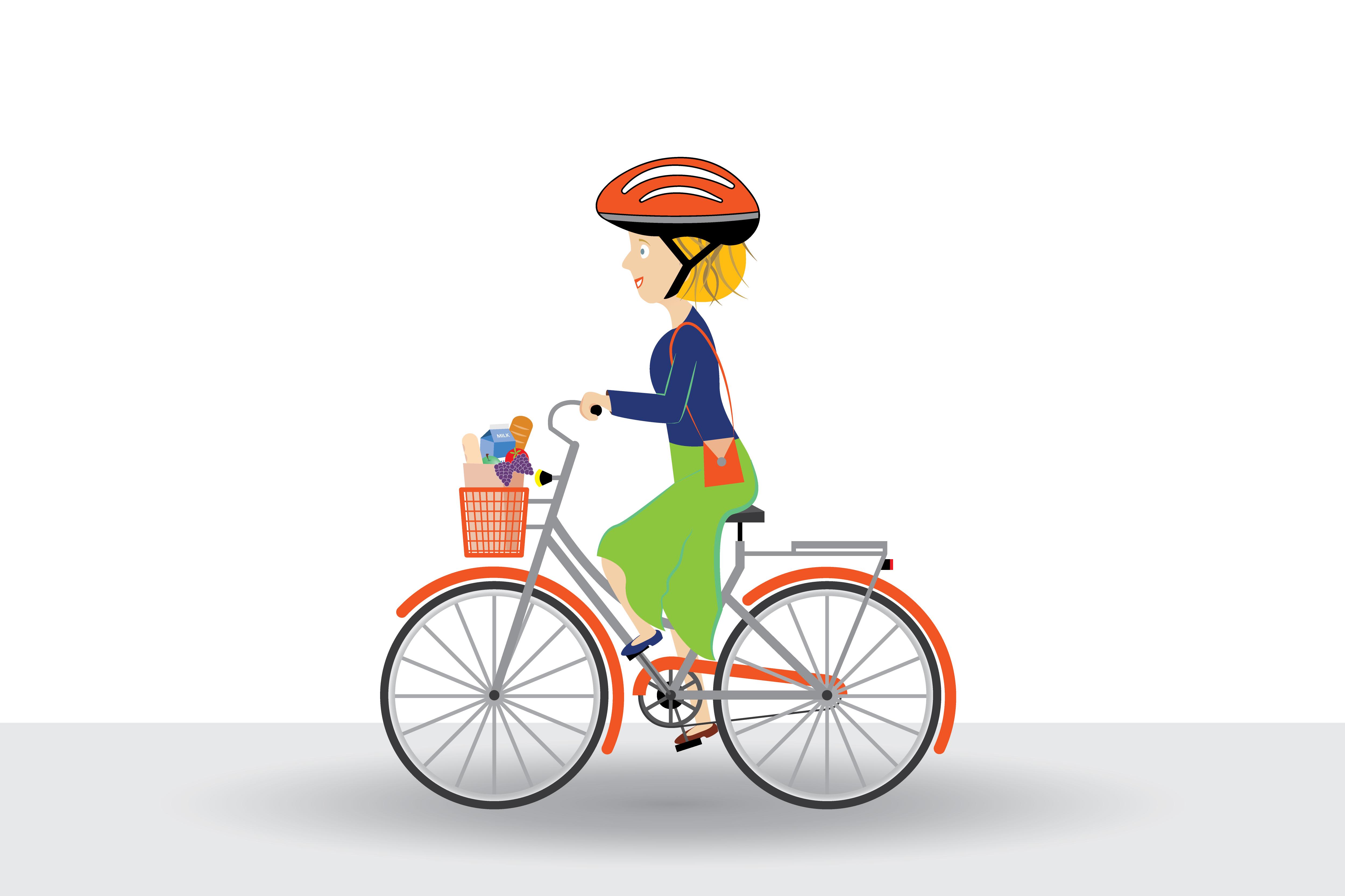 Lady riding her bike