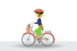 Lady riding her bike