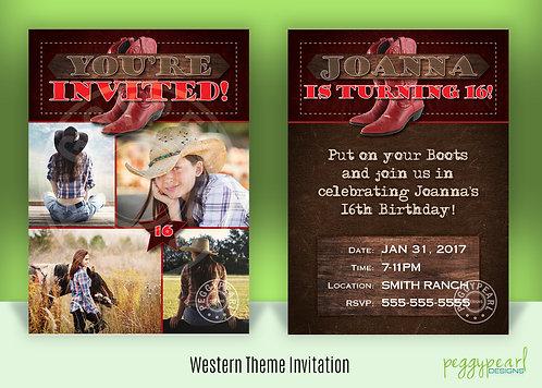 Birthday Invitation - Western Theme