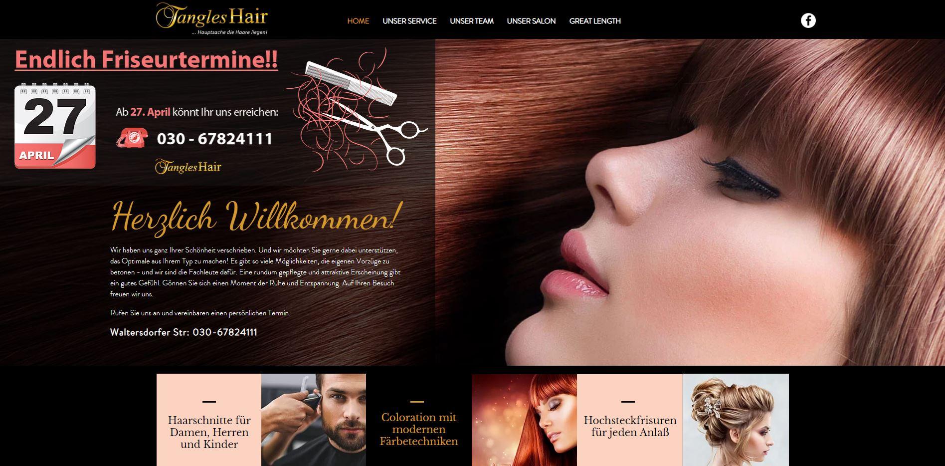 TanglesHair Website Design