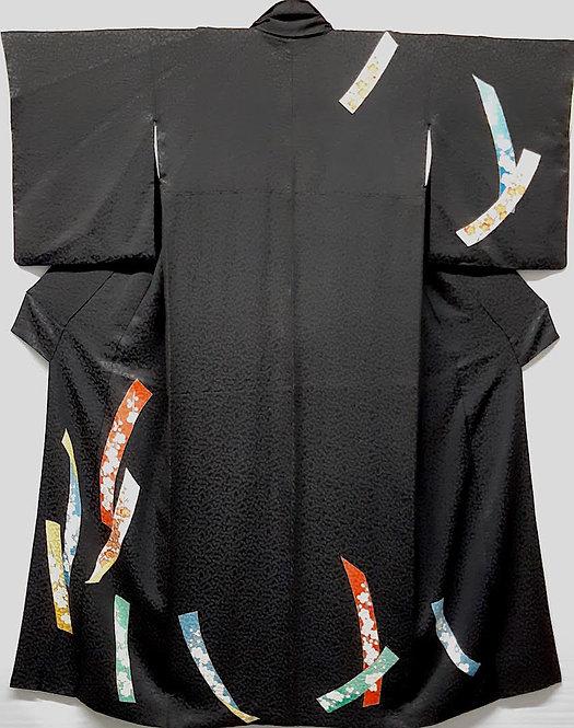 kimono giapponese donna nero tanzaku