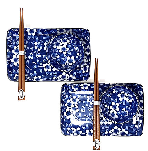 set piatti giapponesi sakura con bacchette