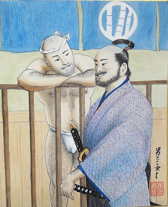 dipinto giapponese shikishi tomodachi