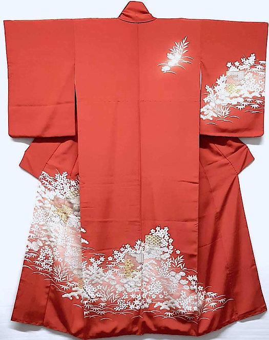 kimono giapponese da donna houmongi rosso