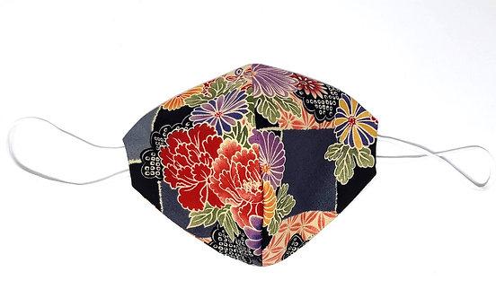 """Mascherina giapponese """"HANA flower kuro"""""""