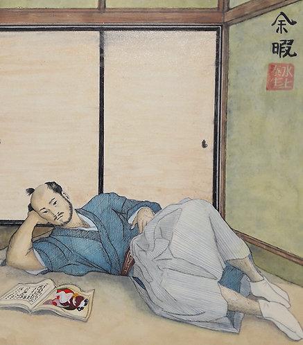 dipinto giapponese shikishi samurai