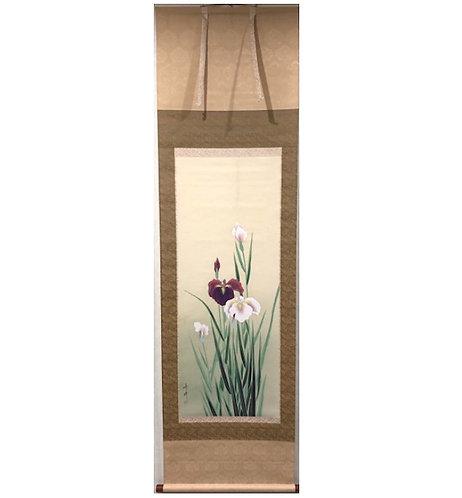 dipinto giapponese kakejiku iris