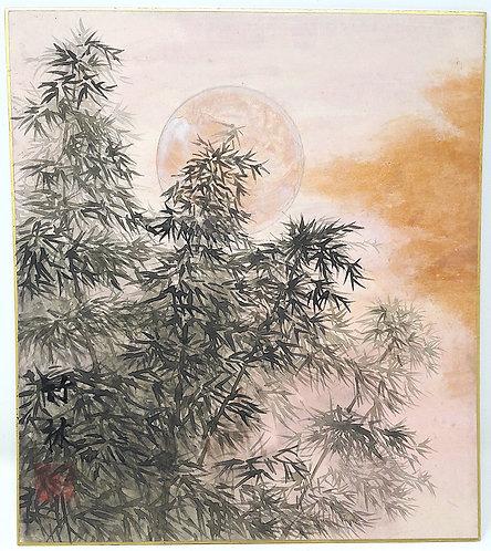 dipinto giapponese shikishi moon