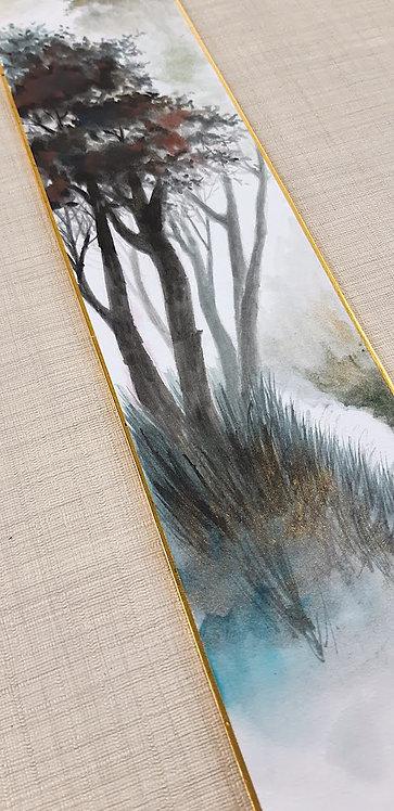 "Dipinto giapponese Tanzaku ""田舎の森 Inaka no mori"""