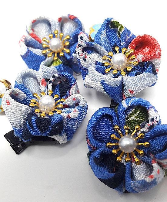 mollette giapponesi a fiori blu