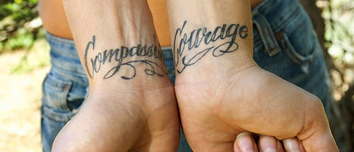 Tattooed Wrists Courage Compassion