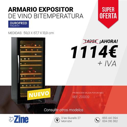 Armario expositor vino bitemperatura Eurofred TFW 265-2