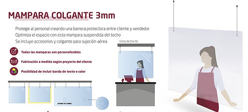 Mampara metacrilato 3mm Colgante