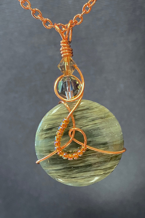 'Petrified Wood' Agate Stone (Copper) Pendant Necklace
