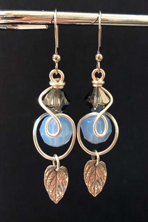 Sterling Silver Mint Leaf & Swarovski Crystal Earrings