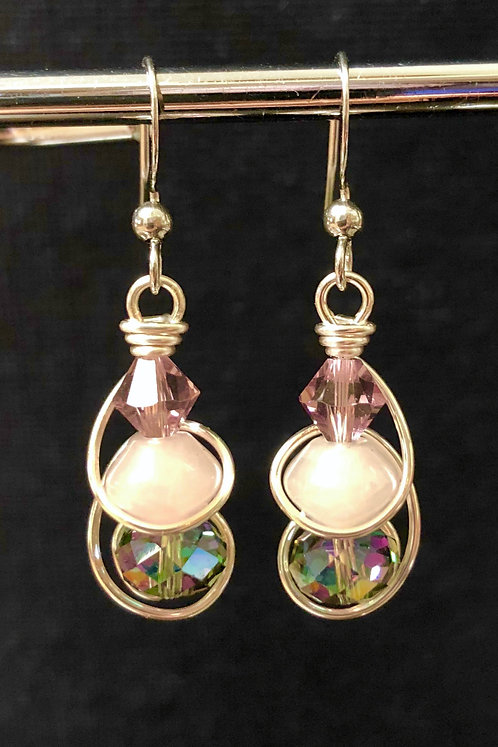 Rose Quartz & Swarovski Crystal (Silver) Earrings