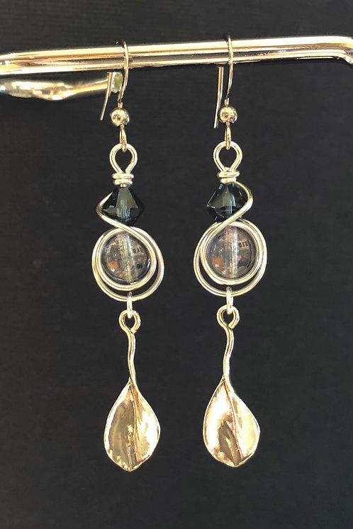 Long-Stem Leaf (Silver) Earrings