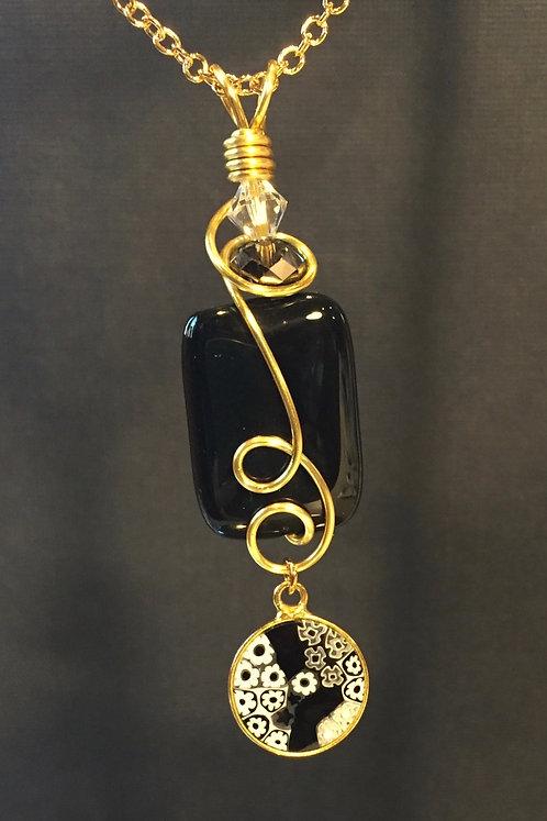 Millefiori Murano Glass & Black Onyx (Gold) Pendant Necklace