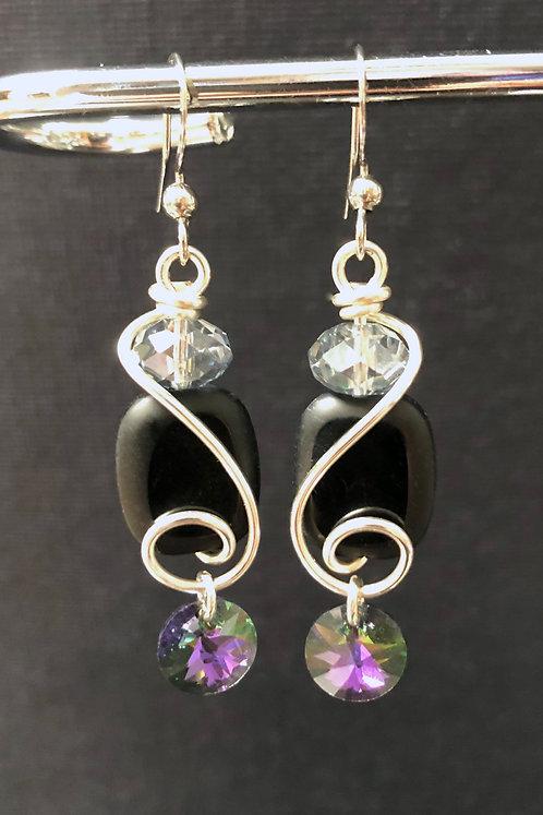 Czech Black Glass & Swarovski Crystal Drop (Silver) Earrings
