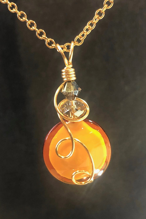 Venetian Murano Glass (Gold) Pendant Necklace